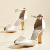 Scallop Your Alley Peep Toe Heel in Ivory | Mod Retro Vintage Heels | ModCloth.com