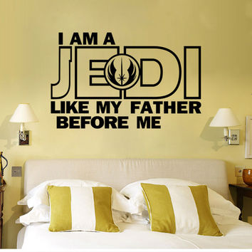 New Style Star Wars I Am A Jedi Like My Father 3D Wall Sticker Wall Vinyl Decals Art Living Home Boy Bedroom Decoration Murals