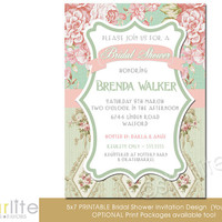 Bridal Shower Invitation - English Garden Floral - Vintage Style - Distressed Pink Green, Vintage Chic - unique invitation - You Print