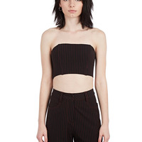 LACE-UP TOP BLACK/RED PINSTRIPE