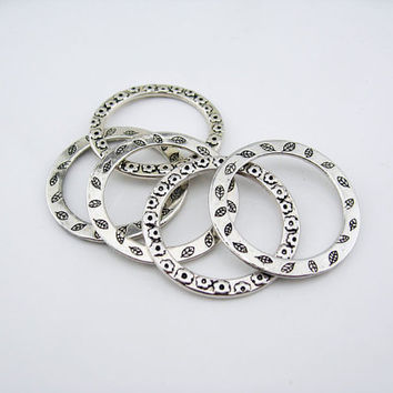 Silver Plate Alloy jewelry accessories 33 mm circle flower leaves