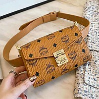 MCM High Quality Fashionable Women Leather Purse Waist Bag Shoulder Bag Crossbody Satchel Brown
