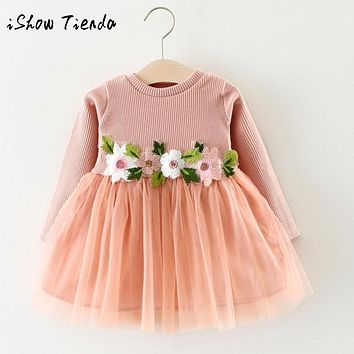 Newborn infant Toddler Baby Girl Floral Long Sleeve Princess tulle Dress clothing set Outfit o-neck A-line New Year's costume