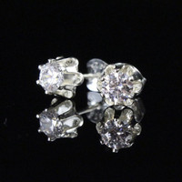 Bridesmaids earrings, 4mm CZ studs, Sterling silver diamond stud earrings, gifts for Bridesmaids gifts, will you be my Bridesmaid invite