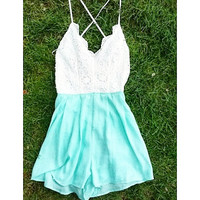 MAKE YOUR HEART MELT LACE ROMPER IN MINT
