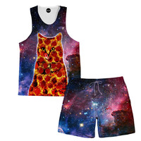 Pepperoni Space Cat Tank and Shorts Rave Outfit
