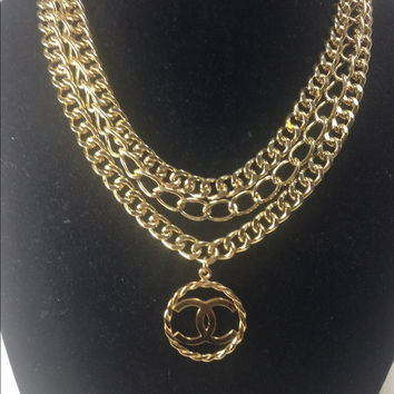 Triple Layer Gold Necklace W Chanel Charm (Handmade)