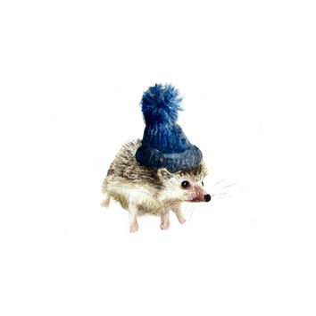 The Hatted Hedgehog - Cute Hedgehog with Blue Toboggan Hat Original Watercolor Art Print 5x7