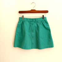 1980s vintage kelly green mini skirt - tennis - snap up - xs / small
