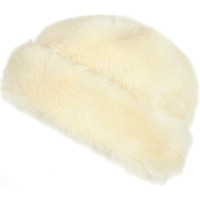 River Island Womens Cream faux fur beanie hat