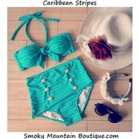 Carribean Stripes Retro High Waist Swimsuit (Green Stripes Top & Bottom) S/M - HW327 - Smoky Mountain Boutique