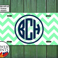 Mint Chevron Pattern Navy Blue Initials Monogram Cute Accessory For Front License Plate Car Tag One Size Fits All Vehicle Custom