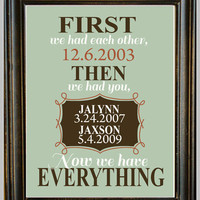 FIRST We Had Each Other, Then We Had You, Now We Have EVERYTHING - PRINT - You Choose the Custom Colours - Gift - Nursery - Family Print