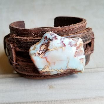 Aqua Terra Slab on Dusty Leather Cuff Bracelet