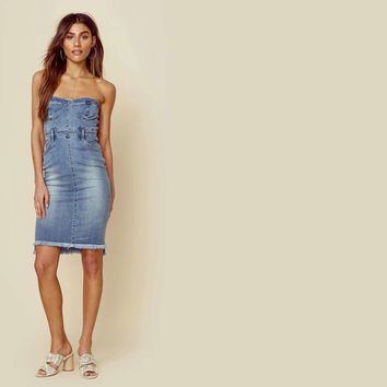 Bella Strapless Denim Dress