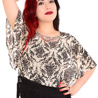 Fringed Flutter Damask Blouse
