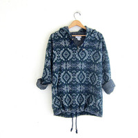 vintage pullover sweater. tribal design. oversized fleece. drawstring pullover. tribal hoodie.