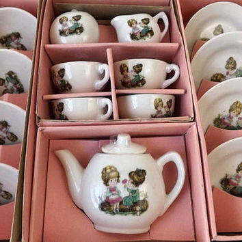 Vintage Toy China Tea Set, Little Girls with Rose, 17 Pc Miniature Service for 4 in Original Box, 1960's Pretend Play Dishes, Made in Japan