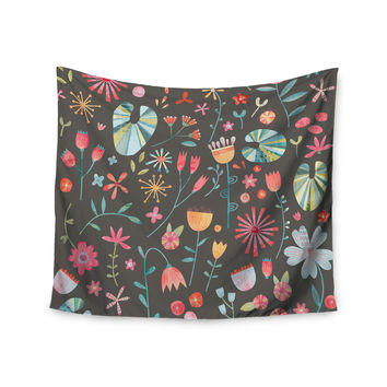 """Nic Squirrell """"Wayside Flowers """" Multicolor Floral Wall Tapestry"""