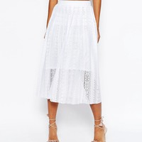 ASOS Pleated Lace Midi Skirt
