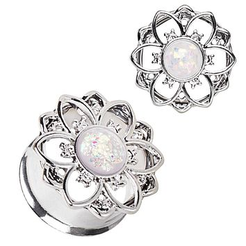 316L Stainless Steel Flower Tunnel WildKlass Plug with White Synthetic Opal
