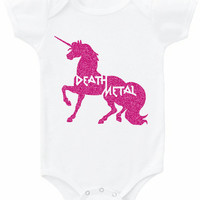 Funny DEATH METAL unicorn graphic tee baby bodysuit Onesuit top rocker babe retro music band t shirt glitter sparkle pink gold black infant