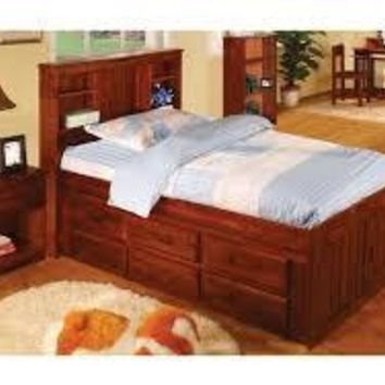 Addison Captains Bed with Bookcase Headboard and Six Drawers