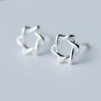 925 Sterling Star Of David Shield Protective Stud Earrings