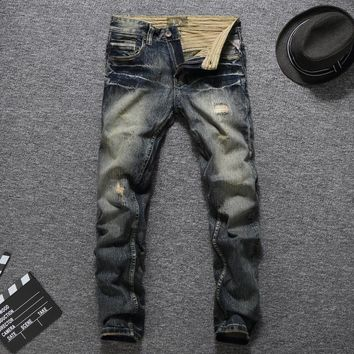 Men Ripped Holes Slim Denim Jeans [748305907805]