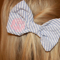 Bow Tie Style Monogram Seersucker Hair Bow