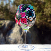 Hand painted sugar skull and star gazer lily wine glass