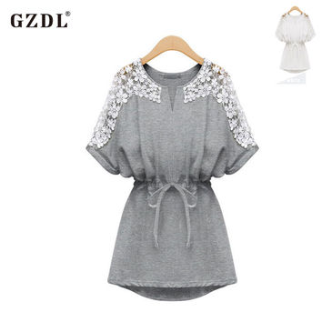 GZDL Sexy Summer Women Mini Dress Short Sleeve O Neck Applique Tunic Casual Party Ladies Clubwear Shirt Dresses Vestidos CL1501