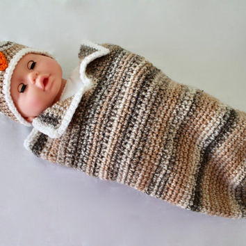 Baby Crochet Cocoon - Baby Swaddle Sack - Cocoon - Brown Sleeping Owl