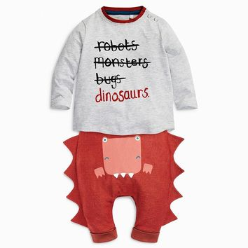 Retail 2017 new Infant Clothes Letter printing Baby Clothing Sets Boys Cotton Little Monsters long Sleeve 2pcs Baby Boy Clothes