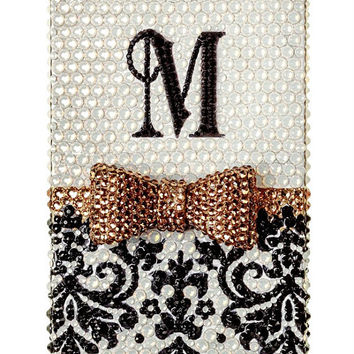Personalize Custom Monogram iPhone case iphone 4 case iphone 4s case iphone 5 case bow iphone 5s case iphone cover bling case handmade case