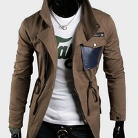 Hot Sale Fashion Stand Collar Cotton Male Coat Coffee M/L/XL/XXL @S5J08-1c $49.04 only in eFexcity.com.