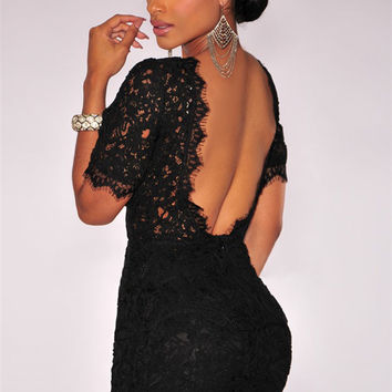 Black Crochet Lace V Back Short Sleeve Bodycon Mini Dress