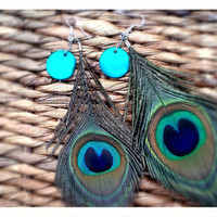 Natural Peacock Feather Earrings #long earrings #peacock feathers