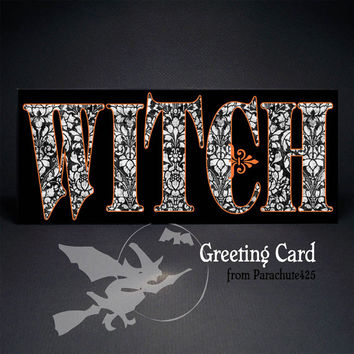 WITCH Greeting Card, Halloween card, no 10, bewitched, Halloween love, black orange white, typography card, goth