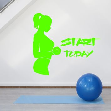 Vinyl Wall Decal Gym Fitness Girl Start Today Words Quote Logo Stickers (2146ig)