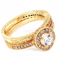 Pamela's Vintage Inspired Gold Plated Cubic Zirconia Wedding Ring Set