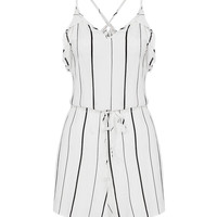 White Stripe V-Neck Strappy Romper