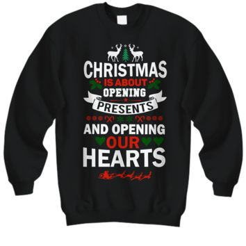 Christmas Sweatshirt Black Gift for Him Her Unisex Holiday Shirt Sentiment Inspirational