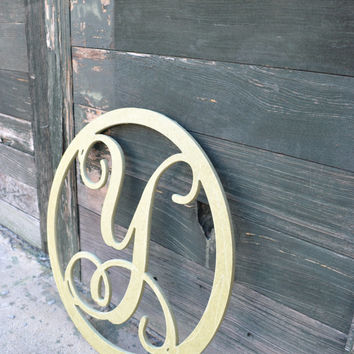 "Fancy Wooden Letter Initial Monogram Circle - 18"" Unfinished Wood - Unpainted - NURSERY - Shabby Chic - Decor"