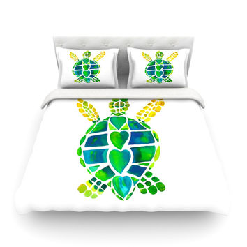 "Catherine Holcombe ""Turtle Love"" Green Teal Featherweight Duvet Cover"