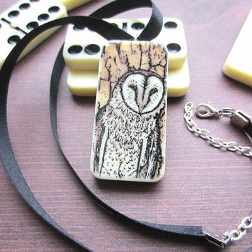 Owl Stamped Domino Necklace, Domino Pendant, Upcycled Necklace, Animal Jewellery, Animal Jewelry, Handmade Necklace, Cute Necklace