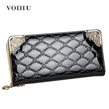 2018 Luxury Vintage Brand Women Long Patent Leather Plaid Wallet Female Clutch Ladies Phone Purse Coin Credit Card Holder Cuzdan