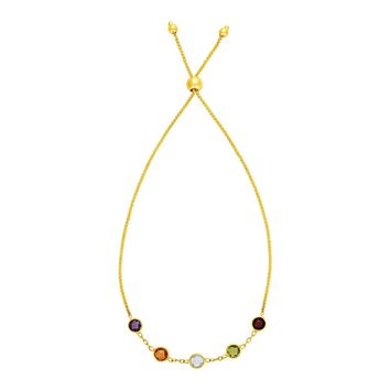 Adjustable Bracelet with Multicolored Small Round Gemstones in 14K Yellow Gold