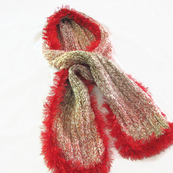 Knit Hooded Scarf - Red Fringed Scarf, Scoodie with Eye Lash Trim Red to Brown Tones Hand Knit Winter Accessory