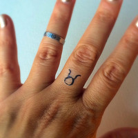 Taurus Temporary Tattoo / Fake Tattoos / Finger Tattoos / Zodiac Sign
